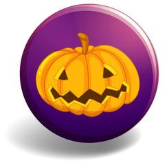 Halloween badge with pumpkin..