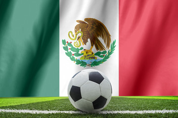 Ball streaks across the flag of Mexico, where soccer is a nation