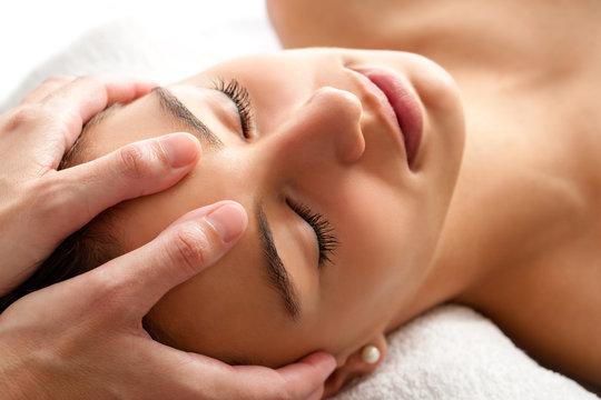 Macro relaxing facial massage.