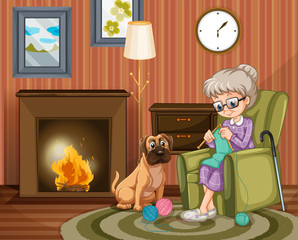 Old woman sitting knitting with dog besides