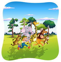 Animals and farmer running in nature