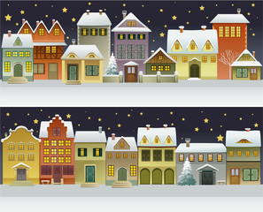 Winter banners with cartoon houses