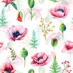 Seamless pattern of watercolor poppies. Illustration of flowers. Vintage. Can be used for gift wrapping paper.