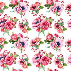 Seamless pattern of watercolor poppies and roses. Illustration of flowers. Vintage. Can be used for gift wrapping paper.