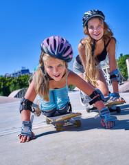 Teen girl rides his skateboard