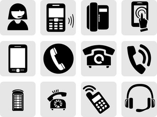 vector black and white icons phones
