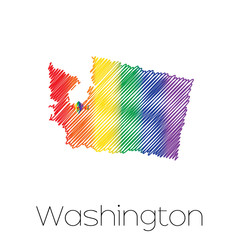 LGBT Scribbled shape of the State of Washington