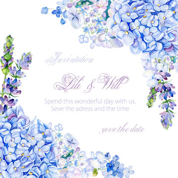 Frame of watercolor blue hydrangea, lavender. Vintage floral greeting card. Can be used as a greeting card for background of Valentine's day, birthday, mother's day, wedding or any other design.