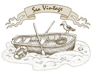 Sea vintage theme with old boat and gull