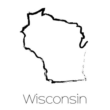 Scribbled shape of the State of Wisconsin