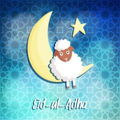 Eid-ul-adha greeting card with sheep, moon and star, vector