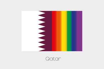 LGBT Flag Illustration with the flag of Qatar