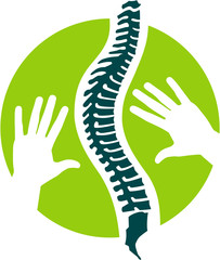 Logo, Signet und Flat Icon mit Wirbelsäule zu Orthopädie, Osteopathie, Physiotherapie und Massage