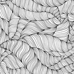 Black and white doodle seamless pattern. Hand-drawn wavy zentangle background.