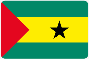 Flag Illustration with rounded corners of the country of Sao Tom