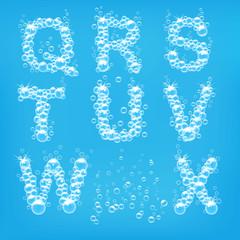 Alphabet of soap bubbles vector illustration