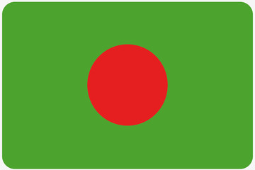 Flag Illustration with rounded corners of the country of Banglad