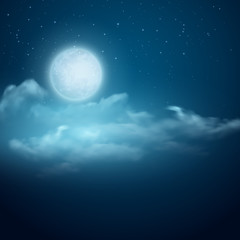 Night vector background, Moon, Clouds and shining Stars on dark