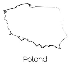 Scribbled Shape of the Country of Poland