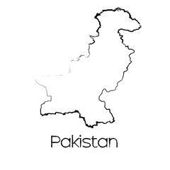 Scribbled Shape of the Country of Pakistan