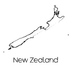 Scribbled Shape of the Country of New Zealand