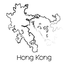 Scribbled Shape of the Country of Hong Kong