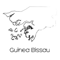 Scribbled Shape of the Country of Guinea Bissau