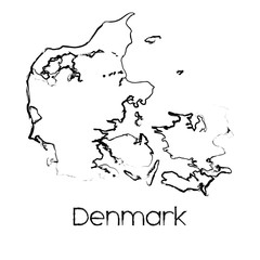 Scribbled Shape of the Country of Denmark
