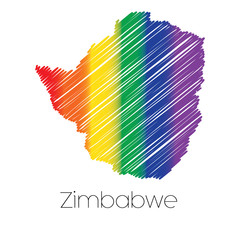 LGBT Coloured Scribbled Shape of the Country of Zimbabwe