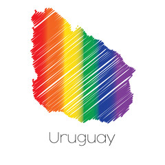 LGBT Coloured Scribbled Shape of the Country of Uruguay