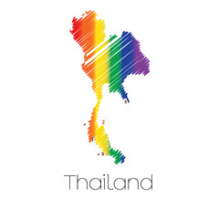 LGBT Coloured Scribbled Shape of the Country of Thailand
