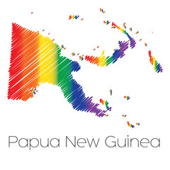 LGBT Coloured Scribbled Shape of the Country of Papua New Guinea