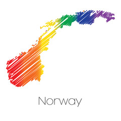 LGBT Coloured Scribbled Shape of the Country of Norway