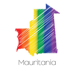 LGBT Coloured Scribbled Shape of the Country of Mauritania