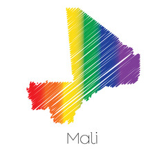 LGBT Coloured Scribbled Shape of the Country of Mali