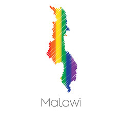LGBT Coloured Scribbled Shape of the Country of Malawi