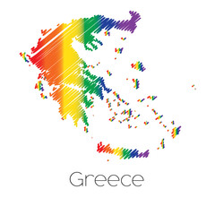 LGBT Coloured Scribbled Shape of the Country of Greece