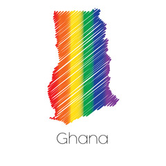 LGBT Coloured Scribbled Shape of the Country of Ghana