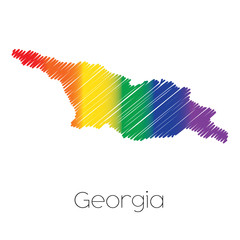 LGBT Coloured Scribbled Shape of the Country of Georgia