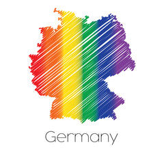 LGBT Coloured Scribbled Shape of the Country of Germany