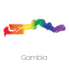 LGBT Coloured Scribbled Shape of the Country of Gambia