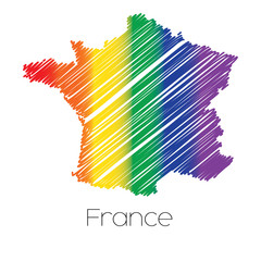 LGBT Coloured Scribbled Shape of the Country of France