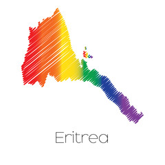 LGBT Coloured Scribbled Shape of the Country of Eritrea