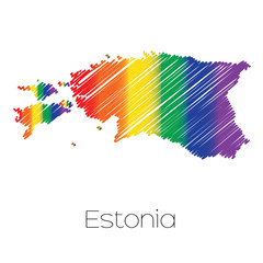 LGBT Coloured Scribbled Shape of the Country of Estonia