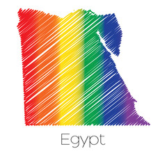 LGBT Coloured Scribbled Shape of the Country of Egypt
