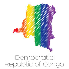 LGBT Coloured Scribbled Shape of the Country of Democratic Repub