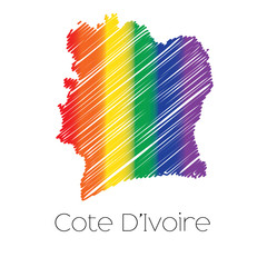 LGBT Coloured Scribbled Shape of the Country of Cote Divoire