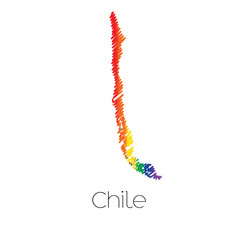 LGBT Coloured Scribbled Shape of the Country of Chile