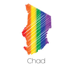 LGBT Coloured Scribbled Shape of the Country of Chad
