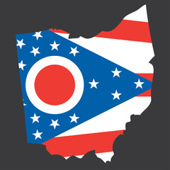 A Highly detailed map with flag inside of the state of Ohio